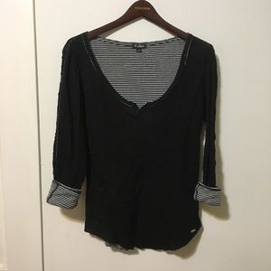 Guess black top roll up sleeve